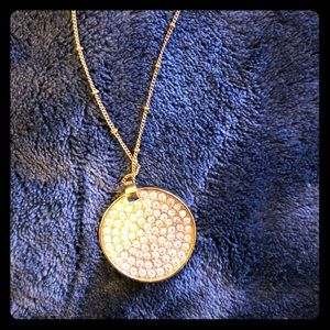 Gold Long Round Pendant Necklace
